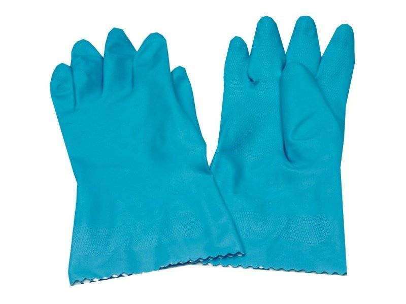 CPD Caterpack Blue Medium Rubber Gloves - 6 Pack