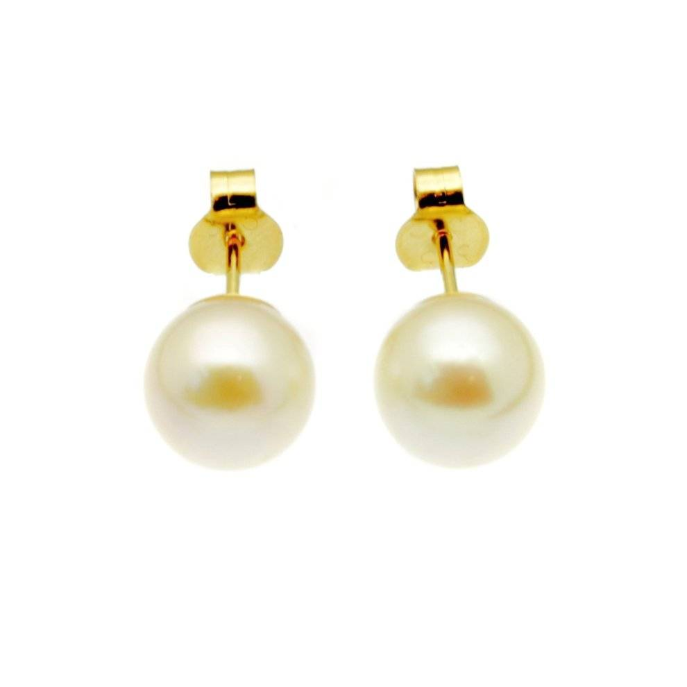 Scintilla Fine Jewellery Pearl Earrings 9ct Gold Studs 6mm Round White Freshwater Pearls