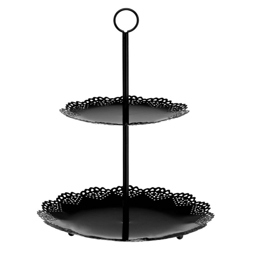 PRiME Cake Stand 2 Tier Black Metal For Cooking Decor