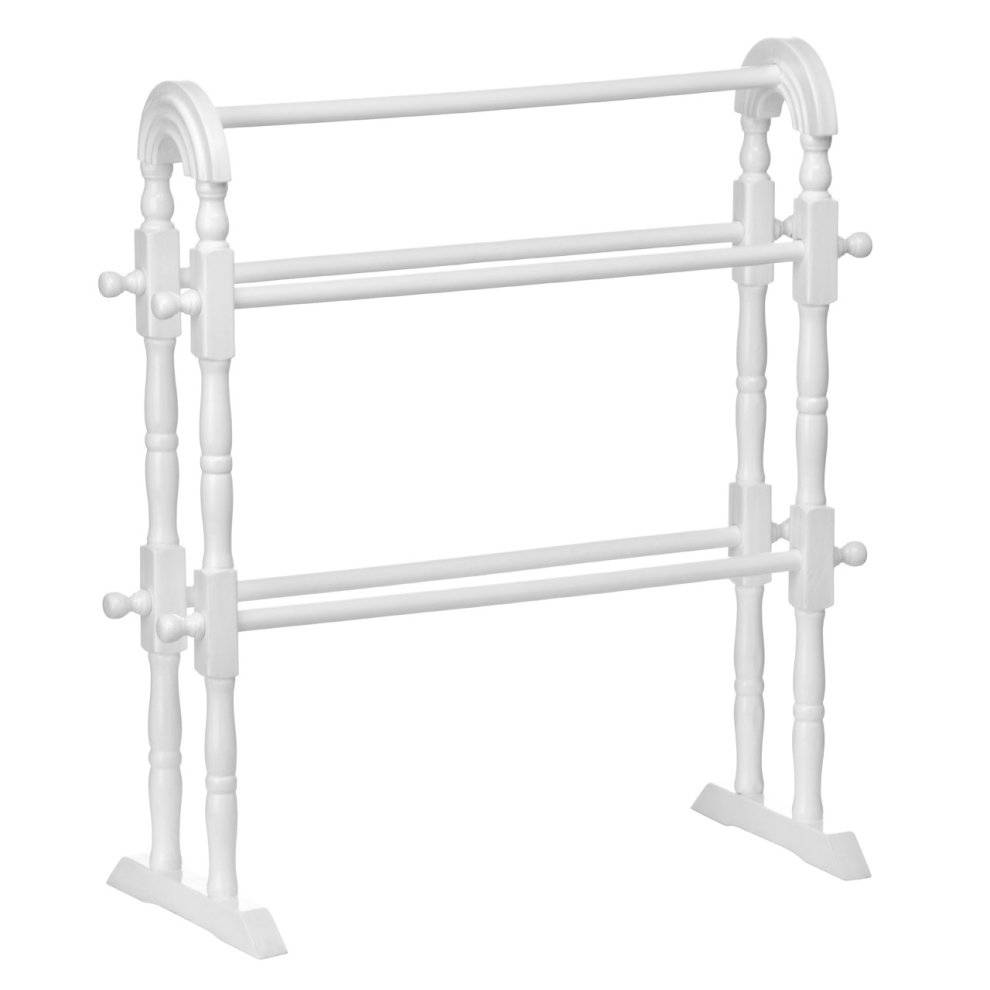 PRiME Towel Rail White Wood 5 Rails with Turned Legs