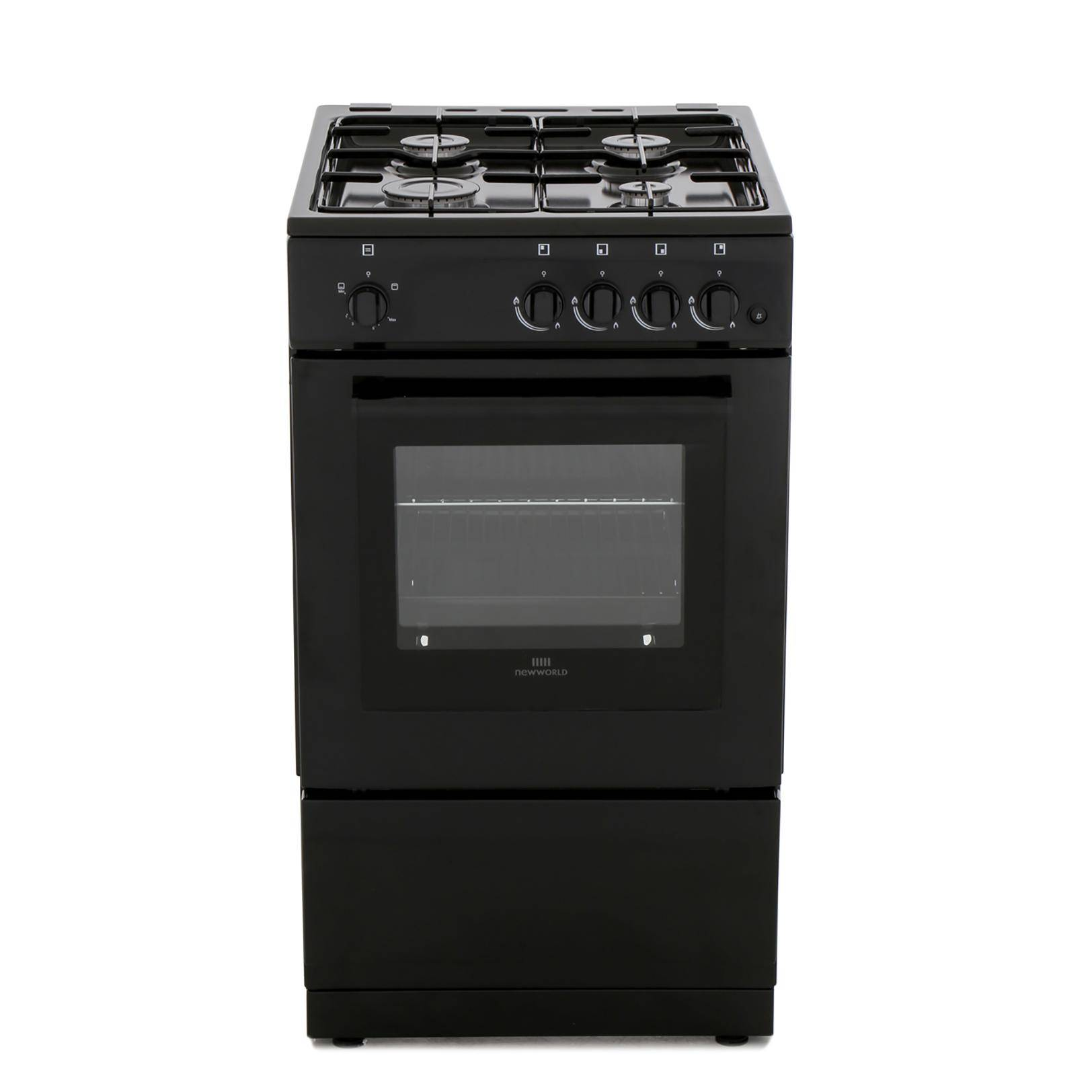 New World Black Gas Cooker with Single Oven