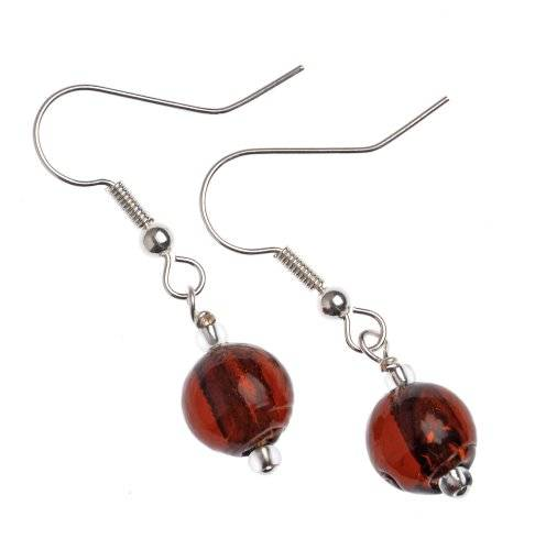The Jewellery Factory Murano Style Copper Round Bead Earrings