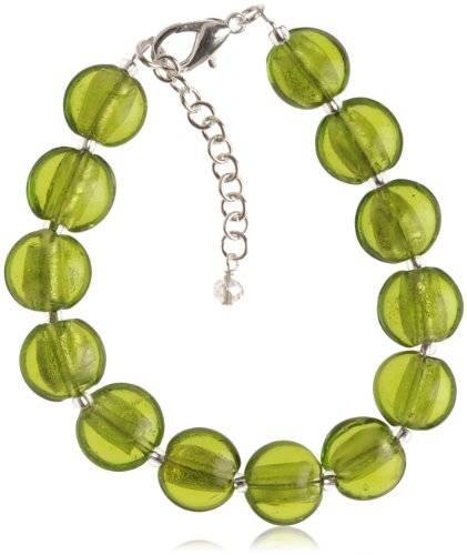 The Jewellery Factory Silver Plated Lime Murano Style Disc Bracelet of 23.5cm