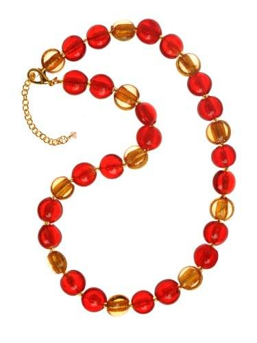 The Jewellery Factory Gold Plated Gold and Orange Murano Style Disc Bead Necklace of 50.0cm