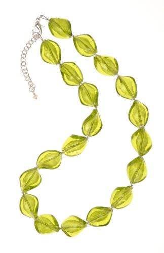The Jewellery Factory Murano Style Olive Twist Glass Bead Necklace of 45.5cm