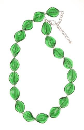 The Jewellery Factory Murano Style 'Emerald' Green Twist Glass Bead Necklace of 44cm+6cm extender