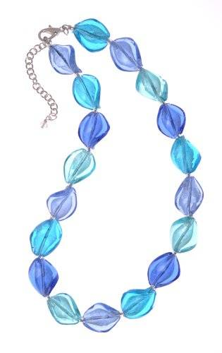 The Jewellery Factory Murano Style Blue Mix Twist Glass Bead Necklace of 44cm + 6cm EXTENDER