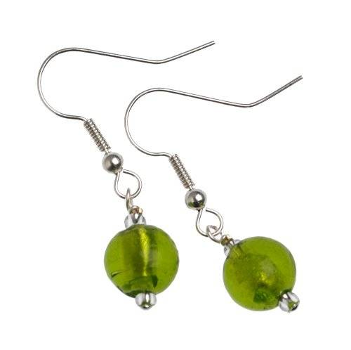 The Jewellery Factory Murano Style Lime Round Bead Earrings