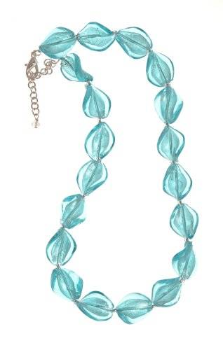 The Jewellery Factory Murano Style Light Aqua Twist Glass Bead Necklace of 45cm + 6cm Extender