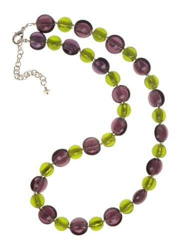 The Jewellery Factory Silver Plated Purple and Lime Murano Style Disc and Round Bead Necklace of 50.0cm