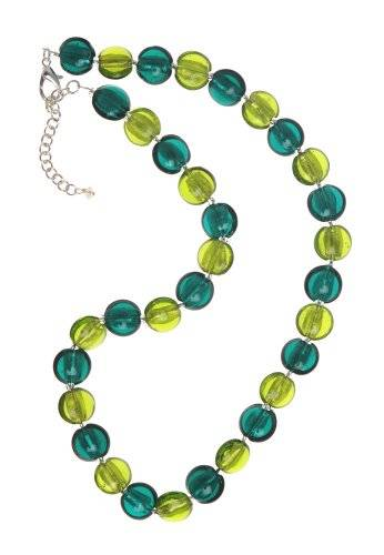 The Jewellery Factory Silver Plated Teal and Lime Murano Style Disc Bead Necklace of 50.0cm