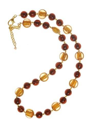 The Jewellery Factory Gold Plated Copper and Gold Murano Style Disc and Round Bead Necklace of 50.0cm