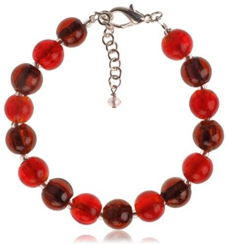 The Jewellery Factory Silver Plated Orange and Copper Murano Style Bead Bracelet of 23.5cm
