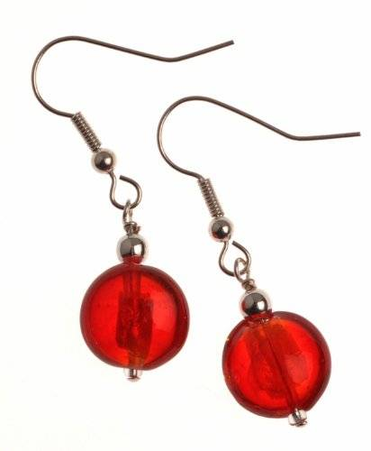 The Jewellery Factory Silver Plated Red Murano Style Single Drop Bead Earrings