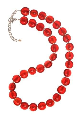 The Jewellery Factory Silver Plated Red Murano Style Disc Bead Necklace of Length 45.5cm + 6.5cm Extender