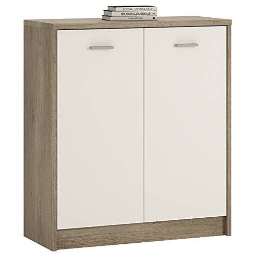 Furniture 2 Go Furniture To Go 4 YOU 2-Door Cupboard with Melamine, 74 x 86 x 35 cm, Canyon Grey/ Pearl White