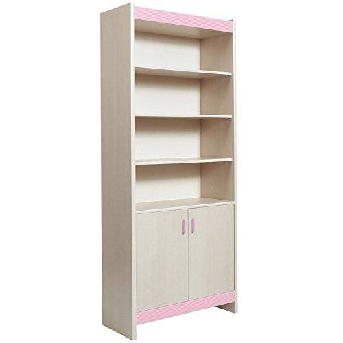 Furniture 2 Go Furniture To Go Fanfair Tall Wide 2-Door Bookcase with Melamine, 86 x 198 x 35 cm, Pink