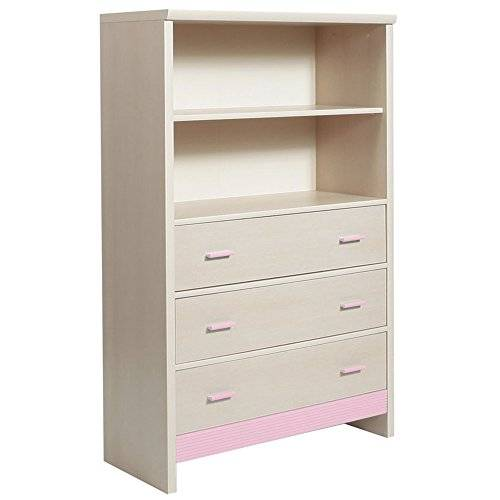 Furniture 2 Go Furniture To Go Fanfair 3-Drawer Chest with Shelving Unit Top, 86 x 134 x 37 cm, Pink
