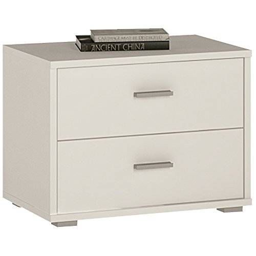 Furniture 2 Go Furniture To Go 4 YOU 2-Drawer Low Chest/Bedside with Melamine, 50 x 38 x 35 cm, Pearl White