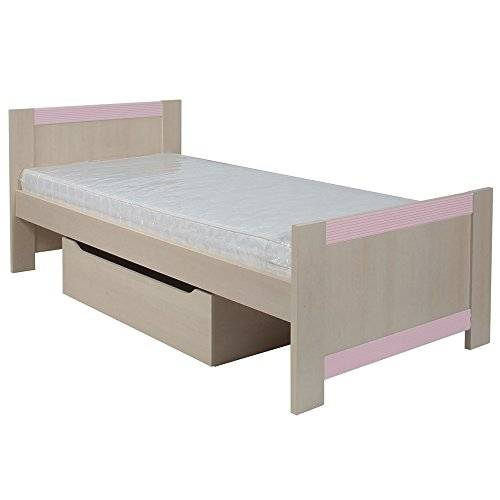 Furniture 2 Go Furniture To Go Fanfair Single Bed with Under Drawer, 100 x 80 x 206 cm, Pink