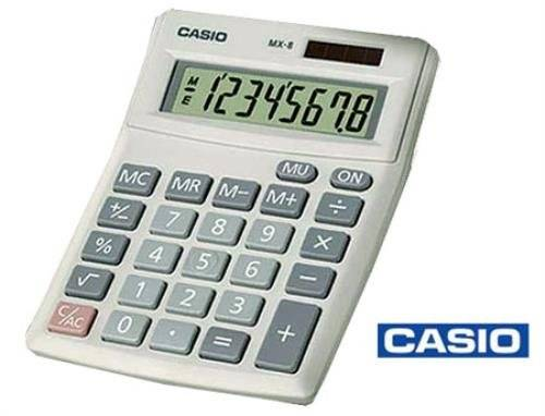 Casio Electronic Calculator MX-8-sa/MX-8V-we-s ( Ideal for Key Stage 1-2 General Office Use with angled display for easy viewing and 'big' easy read keys, two-way power and more... Features; Angled Display. Big Display. 8 Digits. Mark up %. Non-stick Plastic Keys. Dual powered - battery or solar power. Battery (included). ...)