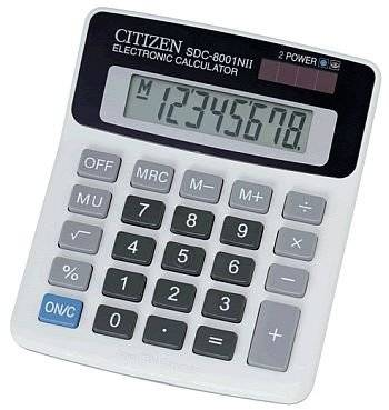 Citizen 8 Digit Calculator SDC-8001N 2 Power