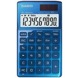 Casio Pocket Calculator with Wallet Type Case - Blue