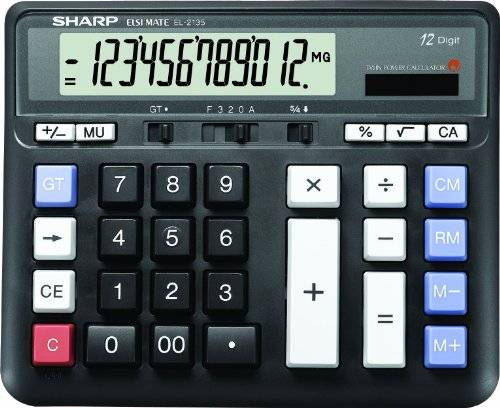 "Sharp Desktop Calculator, 12 Digit, Angled LCD, 7-1/2""x6""x1"", BK, Sold as 1 Each"