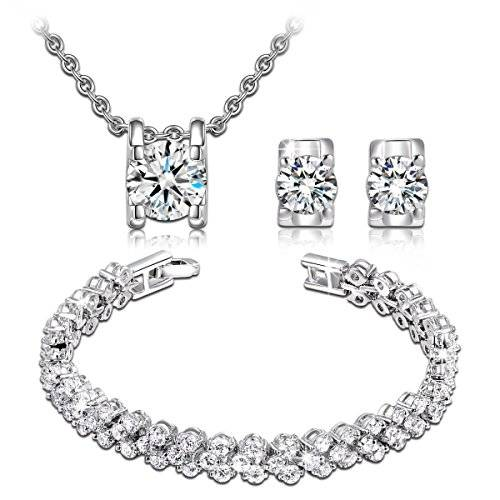 """Jewellery Gifts For Her P&M """"Snow Queen"""" White Gold Plated Crystal Women Jewellery Set Bracelet Necklace Earrings"""