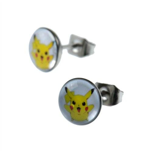 Jewellery of Lords Pair of Pokemon Mouse Pikachu 8mm Stainless Steel Satellite Stud Earrings