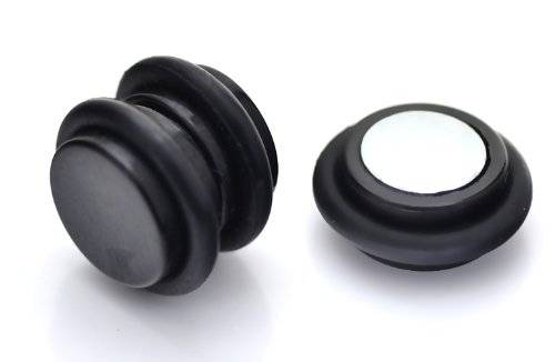Jewellery Sleuth Pair of Black Magnetic Non Piercing Cheater Fake Plug Earrings Black - 8mm