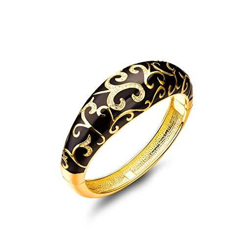 """Jewellery Gifts For Her Pauline & Morgen """"Spring of Versailles"""" Black Enamel Gold Plated Crystal Women Bracelet. Birthday Valentines Mothers Day Xmas Christmas Anniversary Wedding Engagement Gifts For Wife Mother Daughter"""