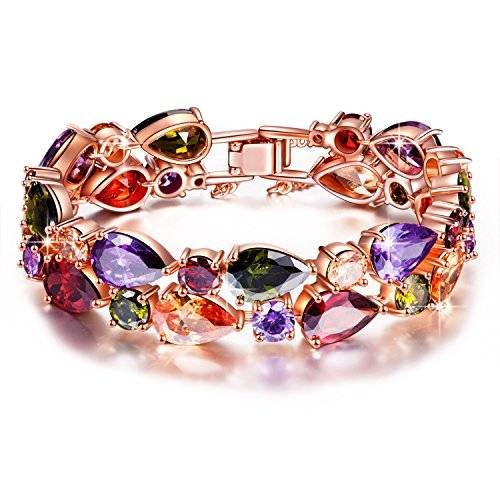 """Jewellery Gifts For Her Pauline & Morgen """"Bohemian Chic"""" Rose Gold Plated Crystal Bangle Women Bracelet Party Jewellery"""
