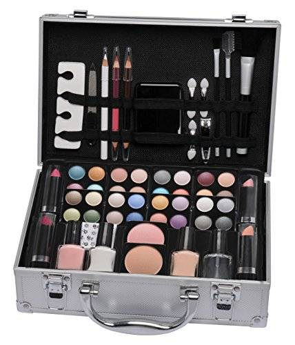 Cosmetics Accessories Vanity Case Beauty Cosmetic Set Travel Make Up Box Train Holder Storage 58 Piece