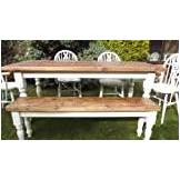 Maplewoods Interiors 6' Shabby Chic Rustic Farmhouse Table, 4 Chairs and a 2-3 Seater Bench - Painted with Farrow and Ball