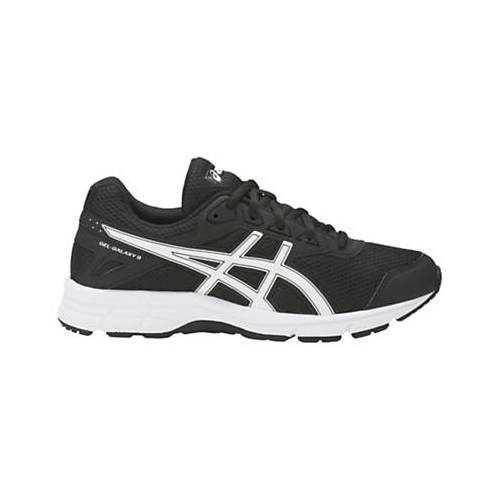 Asics Children's Gel-Galaxy 9 GS Cushioned Laced Trainers, Black/White, size: 3