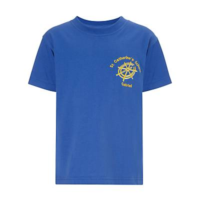 Unbranded St Catherine's Catholic Primary School Gabriel House T-Shirt, Royal Blue, size: 5-6 years