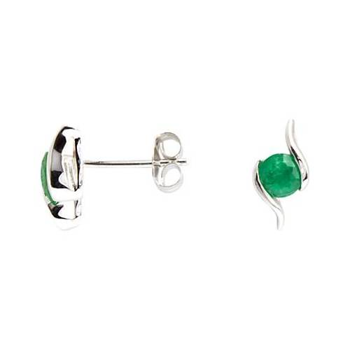 A B Davis 9ct White Gold Emerald Propeller Stud Earrings, 0.4ct