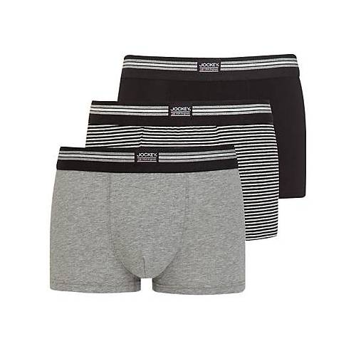 Jockey Stretch Cotton Trunks, Pack of 3, Black/Grey, size: XL