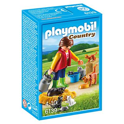Playmobil Country Woman with Cat Family