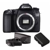 Canon EOS 70D DSLR Camera with Additional Battery and Shoulder Strap - Body Only 70D