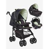 VERTBAUDET Kinderwagen + Babyschale + Babywanne grün dreiecke