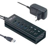 Xystec Aktiver USB-3.0-Hub mit 4 Ports & 3 Schnell-Lade-Buchsen (BC 1.2), 4 A