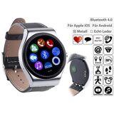 simvalley MOBILE Smartwatch mit Bluetooth 4.0, Metallgehäuse, Herzfrequenz, Nachrichten