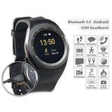 simvalley MOBILE 2in1-Uhren-Handy & Smartwatch für Android, rundes Display, Bluetooth