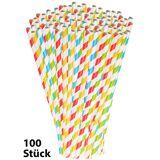 Pearl 100 Retro Papier-Trinkhalme in 4 Farben, gestreift, lebensmittelecht