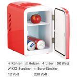 Rosenstein & Söhne Mini-Kühlschrank mit Warmhalte-Funktion, 4 Liter, für 12/230 Volt, rot