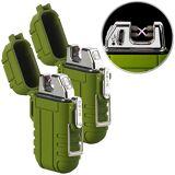 Pearl 2er-Set Elektronisches Feuerzeug mit doppeltem Lichtbogen, IP56, oliv