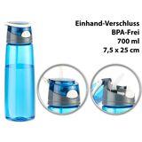 Pearl BPA-freie Kunststoff-Trinkflasche mit Einhand-Verschluss, 700 ml, blau