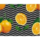 Le Erbe di Janas FRIUBASCA Dinkel-Yogarolle Bio-Baumwolle - Wellen mit Orangen-Print